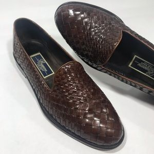 COLE HAAN BRAGANO Men's Brown Woven Leather Loafer